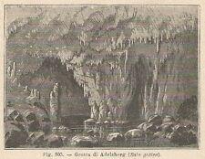 A1492 Grotta di Adelsberg (Sala gotica) - Xilografia Antica del 1895 - Engraving