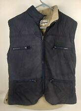 Cambrai Womens Blue Tan Quilted Zip Fleece Lined Equestrian Style Vest Sz L READ
