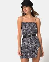 MOTEL ROCKS Datista Dress in Rar Leopard Grey M Medium (mr102)