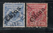 1898 German colony P.O. in China stamps, OVPT at 48 degree, 10c & 20c, used