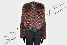 GIVENCHY 10K$ Auth New Multi Colour Striped Raccoon Fur Leather Jacket sz 34