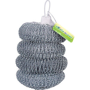 Jumbo Steel Scrubbers 4pk Large Stainless Steel Scourer Tough Wire Cleaning Pads