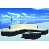 vidaXL Garden Lounge Set Poly Rattan Wicker Black Sectional Sofa Couch Seats