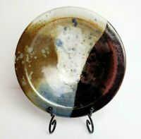 Handmade Glazed Art Pottery Shallow Bowl- Brown, White & Blue- Rustic