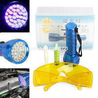 A/C UV Fluid Gas Leak Detector Car System Diagnostic Dye & Glasses +28 LED Light