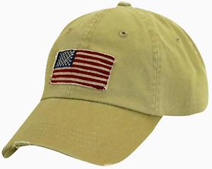 American Flag Dorfman Pacific Patriotic Flag Ball Cap, Khaki, Baseball Hat, NEW