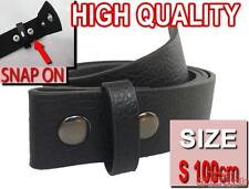 NEW Black SMALL 100cm Easy Snapon PU Leather snap on for mens womens unisex belt
