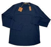 Loro Piana Blue Long Sleeve Cotton Shirt Size Large Made in Italy