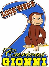 Curious George Birthday Party t Shirt Iron On Transfer Personalized Decal