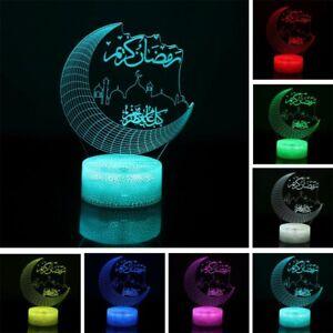 Eid Mubarak LED Night Light Ramadan Lamp Muslim Islam Table Ornament Party Decor