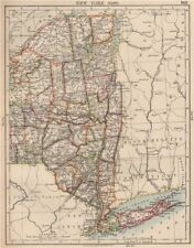 Estado de Nueva York este. con condados Ferrocarriles. NYC Long Island. Johnston 1906 Mapa