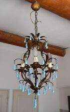 Antique Chandelier Blue Opaline drops 1920 Beads 4 Lights Gouttes RARE Lustre