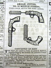 1854 newspaper w ILLUSTRATED GUN AD showing an unusual REVOLVING HAMMER PISTOL