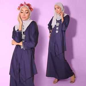 Women Muslimah Long sleeve Purple Lavender Kebaya Diamond Cotton Plus Size Dress