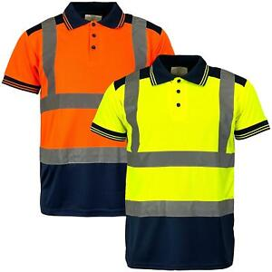 Mens Hi Vis Visibility Short Sleeved Polo Shirt Construction / Railway Standard