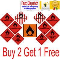 Hazard Warning Stickers Highly Flammable Gas Solid Liquid LPG Sign Safety 150mm