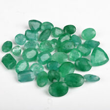 100 Ct /12 Pieces Translucent Natural Zambian Green Emerald Loose Gemstone Lot