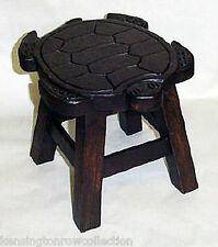 Footstools - Sea Turtle Wooden Footstool - Wood Stain Finish - Foot Stool