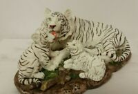 Snow Tiger Cubs Collectible Wild Cat Animal Decoration Figurine Statue Kids Gift