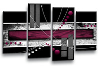 Large Abstract Burgundy Wall Art Picture Grey White Black Canvas Print Split