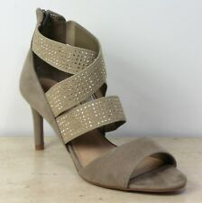 M&S Faux SUEDE Embellished STILETTO Heel SANDALS ~ Size 6.5 ~ NATURAL (rrp £35)
