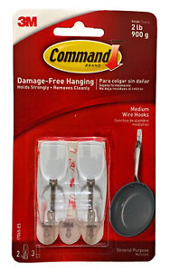 3M Command Medium General Wire Hooks Hold 900g Damage Free Hanging Pack Of 2