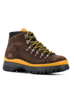 Prada Mens Brown Suede Lace Up Hiking Boots