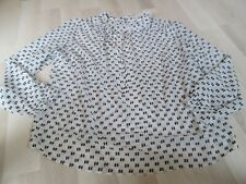 BODEN FAB RUFFLE NECK TOP  IVORY & BLACK.SIZE 18