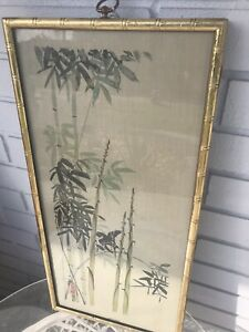 Vintage Asian Bamboo Orient Bird WINTER Turner Mfg. Wall Picture Faux Bamboo
