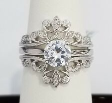 Size 5 14k White Gold Diamond Solitaire Enhancer Guard Round Vintage Ring Wrap