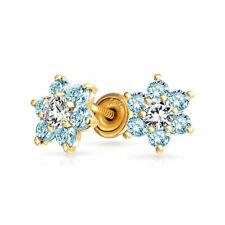 Light Blue Aqua CZ Flower Stud Earrings Simulated Topaz 14K Real Gold Screwback