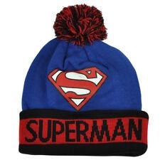DC Comics Superman Super Hero Knit Cuffed Beanie Pom Pom Toque Blue Warner Bros