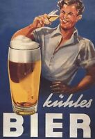 Kühles Bier Mann Blechschild Schild gewölbt Metal Tin Sign 20 x 30 cm FA0155