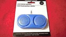 Blue Mini Stereo Speaker iPod CD PC MP3 Player Music Audio No Batteries Required