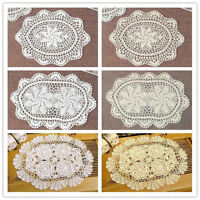 Oval Placemat Table Place Mat Vintage Hand Crochet Cotton Lace Doilies Floral