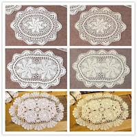 Set of 4 Oval Placemat Vintage Hand Crochet Cotton Lace Table Mats Doilies Decor
