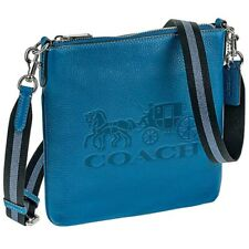 NWT COACH Slim Jes Crossbody Messenger Logo Horse Carriage File Blue Jay 1897