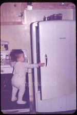 Kid Boy on Stool Opens Firestone Refrigerator Kitchen Vintage 1950s Slide Photo
