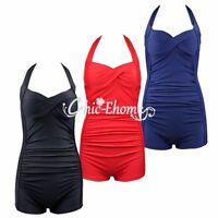 Plus Size Women's Halter Padded Bra Bikini Swimsuit Tankini One Piece Swimwear