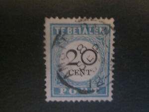 1891 Netherlands postage due 10 - used - 20 cent blue