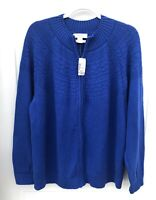 CJ Banks Women's Size 2X Blue Sweater Long Sleeve Full Zip NWT MSRP $54.95