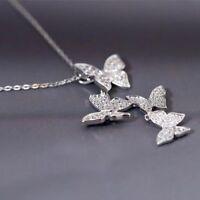 925 Sterling Silver Multiple Zircon Butterfly Necklaces & Pendants For Women Cz