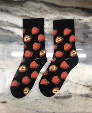 Black Strawberry Socks One Size USA Shipping