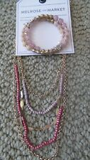 NWT MELROSE AND MARKET PINK GOLD TONE Bead Stone Coil Bracelet  & NECKLACE  SET