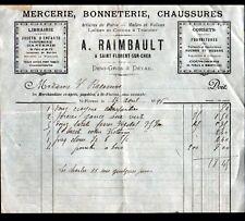 """SAINT-FLORENT-sur-CHER (18) MERCERIE BONNETERIE CHAUSSURES """"A. RAIMBAULT"""" en1896"""