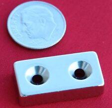 "2 pc 1x1/2x1/4"" with Dual Counter Sunk Hole N42 Rare Earth Neodymium Magnet"
