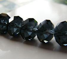 30pcs 9x12mm Faceted Crystal Rondelles - Dark Montana Blue