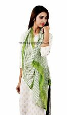 100% Chiffon Hand Block Large Scarf Indian Floral Printed Light Shawl Stole Boho