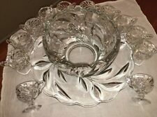 Oleander Willow Punch Bowl Set 12 Footed Cups Under Plate