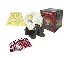 "8 1/2"" Deluxe Bingo Game Set Gold Color Metal Cage Master Board 30 Bingo Cards"